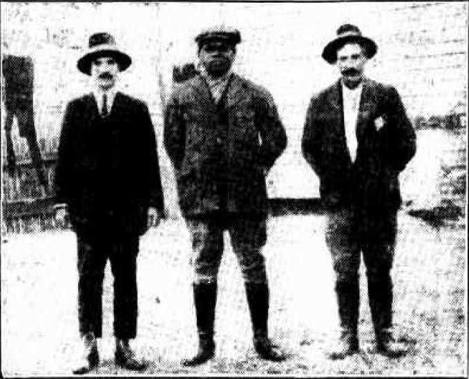 Alec Riley, Monty Tickle and Edward Bennett, soon after the capture of Roy Governor